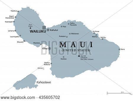Maui, Hawaii, Gray Political Map With Capital Wailuku. Part Of Hawaiian Islands And Hawaii, A State