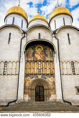 Dormition (assumption) Cathedral At Moscow Kremlin, Russia. Vertical View Of Russian Orthodox Church