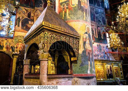 Moscow - June 2, 2021: Dormition (assumption) Cathedral In Moscow Kremlin, Russia. Beautiful Ornate