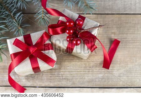 Christmas Background With Christmas Trees And Gifts. Christmas Card. Christmas Background. Festive C
