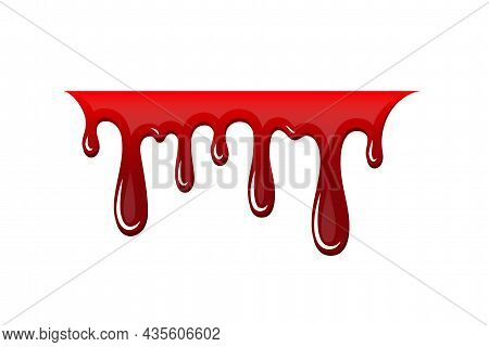 Blood Drip 3d. Halloween Bloodstain Isolated White Background. Splatter Stain. Horror Drop Flow. Red