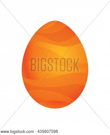 Dragon Dinosaur Egg With Decorative Pattern. Dino Cartoon Egg-shell. Whole Painted Egg Icon. Vector