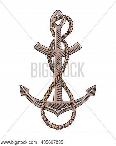 Anchor And Rope Sketch Engraving Vector Illustration. Hand Drawn Print Design Image. Nautical Symbol