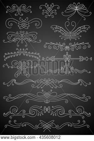 Flourish Calligraphic Design Elements Set. Page Decoration Symbols To Embellish Your Layout. Outline