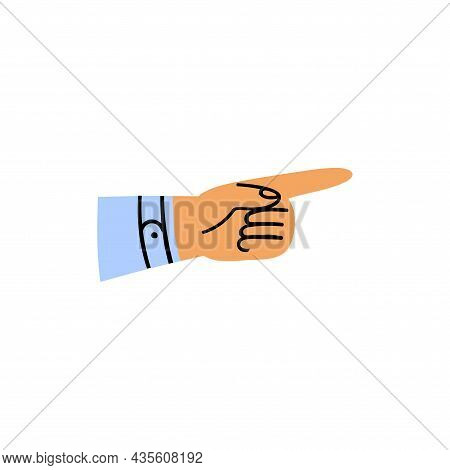 Cartoon Hand Pointing To The Right. One Arm In A Sleeve With A Forefinger In A Blue Shirt. Hand Draw