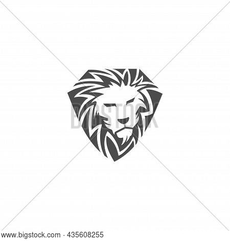 Lion Head Shield Illustration Emblem Mascot Design Template