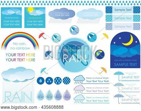 Set Of Vector Illustrations Regarding Rainy Weather Isolated On A White Background.