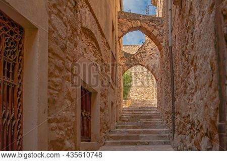 Town View Of The Old Fortified Montblanc In Tarragona, Catalunya, Spain