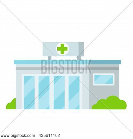 Hospital With Medical Symbol On Facade. Clinic For Treatment Of Patients. Doctor Place Of Work. Trea