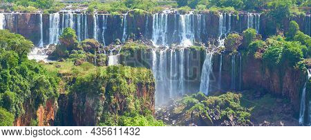 Iguazu Waterfalls In Argentina, View From Devils Mouth, Close-up On Powerful Water Streams Creating