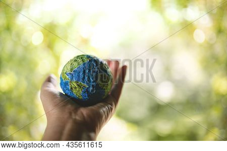 Esg, World Earth Day Concept. Green Energy, Renewable And Sustainable Resources. Environmental And E