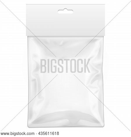 Mockup White Blank Plastic Pocket Bag With Shadow. Transparent. With Hang Slot. Illustration Isolate