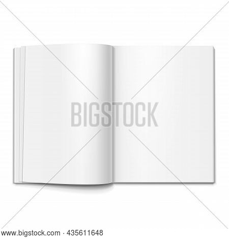 Blank Open Cover Of Magazine, Book, Booklet, Brochure. Illustration Isolated On Gray Background. Moc