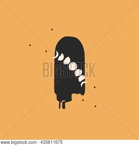 Vector Abstract Stock Flat Graphic Illustration With Logo Element, Bohemian Astrology Magic Minimali