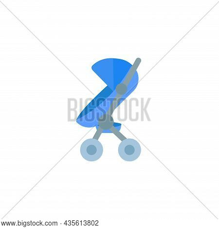 Baby Carriage Isolated Illustration. Baby Carriage Flat Icon On White Background. Baby Carriage Clip