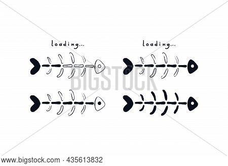 Fish Bone Loading Bar. Doodle Fish Skeleton With Loading Indicator. Vector Stock Illustration Sketch