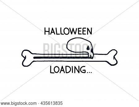 Halloween Loading Bar. Doodle Progress Bar Bone With Skull In Profile Outline. Vector Stock Illustra