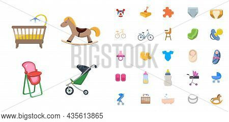Baby Children. Family Flat Icon Set. With Dummy Diaper Nipple