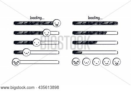 Loading Bar Emoji. Doodle Mood Indicator Or Hand-drawn Emoticons Ranging From Sad To Happy. Vector S