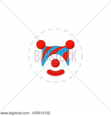 Clown Isolated Illustration. Clown Flat Icon On White Background. Clown Clipart.