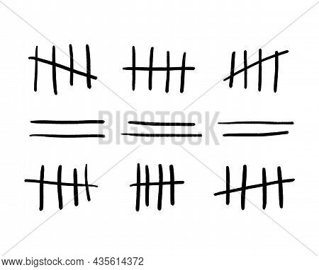 Tally Marks Or Prison Wall Signs Isolated. Hand-drawn Four Sticks Crossed Out By Line. Vector Illust