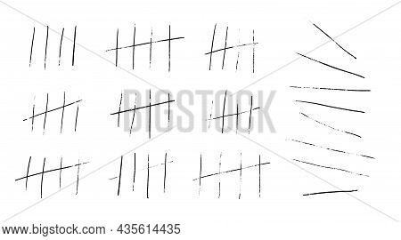 Tally Marks Or Prison Stick Lines Counter Isolated. Vector Illustration Of Waiting Counted By Scratc