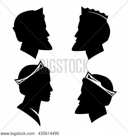 Fairy Tale Bearded King Or Prince Wearing Royal Crown - Noble Man Black And White Vector Silhouette