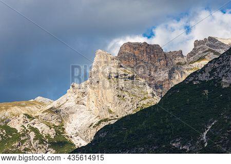 Sesto Or Sexten Dolomites. Mountain Range Of Rondoi-baranci Or Haunold-gruppe, Seen From The Landro