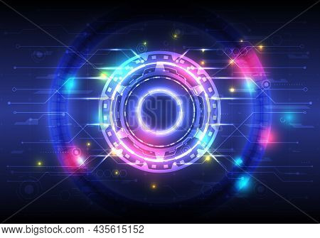 Futuristic Sci-fi Glowing Hud Circle Element. Abstract Hi-tech Background. Hologram Of Head-up Displ