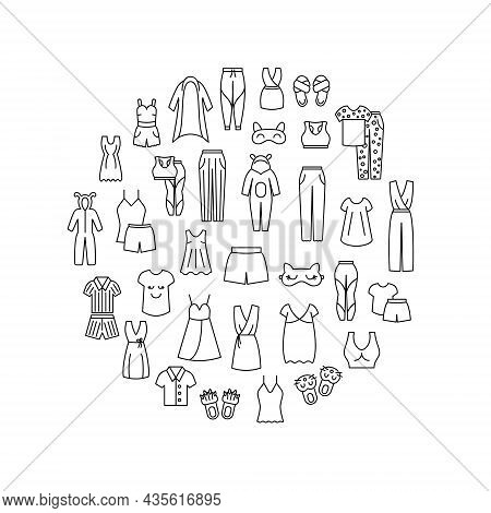 Comfortable Homewear Circle Layout With Line Icons. Sleepwear. Comfy Garment. Customizable Linear Co