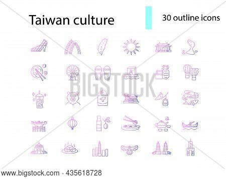 Asian Culture Outline Icons Set. Taiwanese Attributes. Taiwan Features. Elements For Travel Agency A