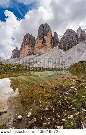 Drei Zinnen Or Tre Cime Di Lavaredo (three Peaks Of Lavaredo, North Face) And Lake, Mountain Peaks O