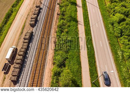Aerial View Of Pathway, Road And Railways