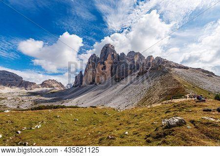 Rock North Face Of Tre Cime Di Lavaredo Or Drei Zinnen (three Peaks Of Lavaredo) And Monte Paterno O