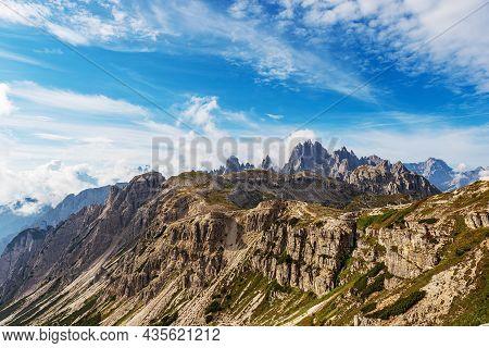 Mountain Range Of Cadini Di Misurina And Sorapiss. Panoramic View From Tre Cime Di Lavaredo, Sesto,