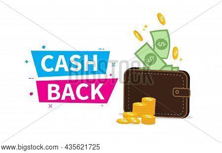 Cashback In Wallet. Cashback Sale Offer Emblem. Online Shopping Partner Program. Finance Saving Conc