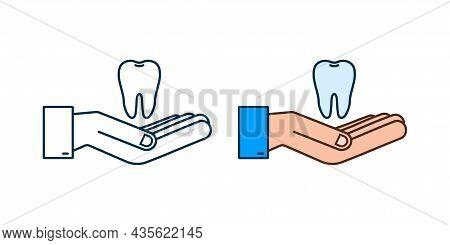 Teeth Icon Dentist. Healthy Teeth In Hands. Human Teeth. Vector Illustration.