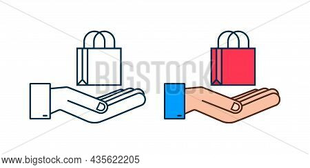 Online Shopping E-commerce Concept With Online Shopping And Marketing Icon. Hands Holding Shopping B