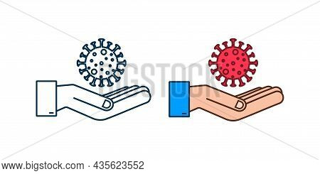 Sign Caution Coronavirus In Hands. Coronavirus Danger And Public Health Risk Disease And Flu Outbrea