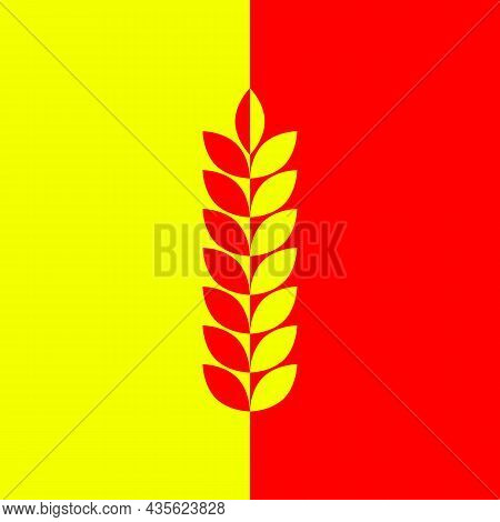 Red Yellow Background With Ear Of Wheat, Barley Or Rye. Vector Clipart And Illustration.