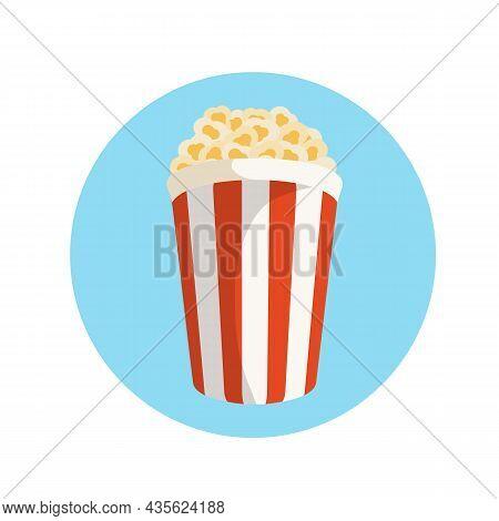 Popcorn Box In Flat Style. Pop Corn Icon Symbol Food Cinema Movie Film Isolated On Blue Background.