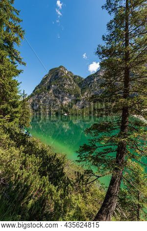 Lago Di Braies Or Pragser Wildsee, Alpine Lake And The Mountain Peaks Of The Small And Great Apostle