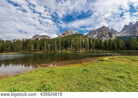 Lake Antorno (lago D'antorno) And The Mountain Range Of Cadini Di Misurina In Italian Alps, Sesto Do