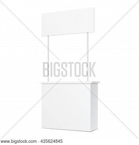 Mockup Pos Poi Blank Empty Retail Stand Stall Bar Display With Banner. On White Background Isolated.
