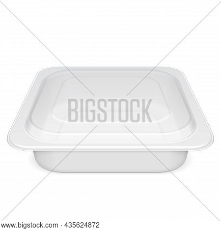 Mockup Empty Closed Blank Styrofoam Plastic Food Tray Container Box With Lid. Illustration Isolated
