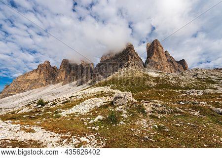 South Rock Face Of Three Peaks Of Lavaredo (drei Zinnen Or Tre Cime Di Lavaredo), Mountain Peaks Of