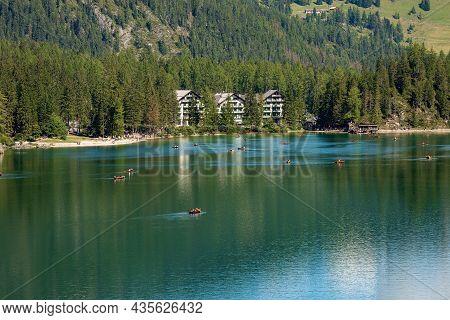Pragser Wildsee Or Lago Di Braies, Small Alpine Beautiful Lake In Braies Valley, Dolomites, Unesco W