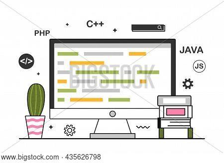 Computer Programming Concept. Screen, Monitor. Teaching Computer Programs, Passing Test, Online Trai