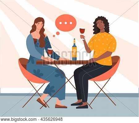 Friendly Meeting Women Concept. Female Characters Sit At Table, Drink Wine And Communicate. Friends