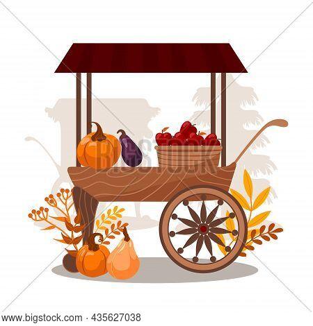 Carts With Seasonal Vegetables And Fruits. Pumpkins, Eggplants, Apples, Basket. Stall Counters. Vega